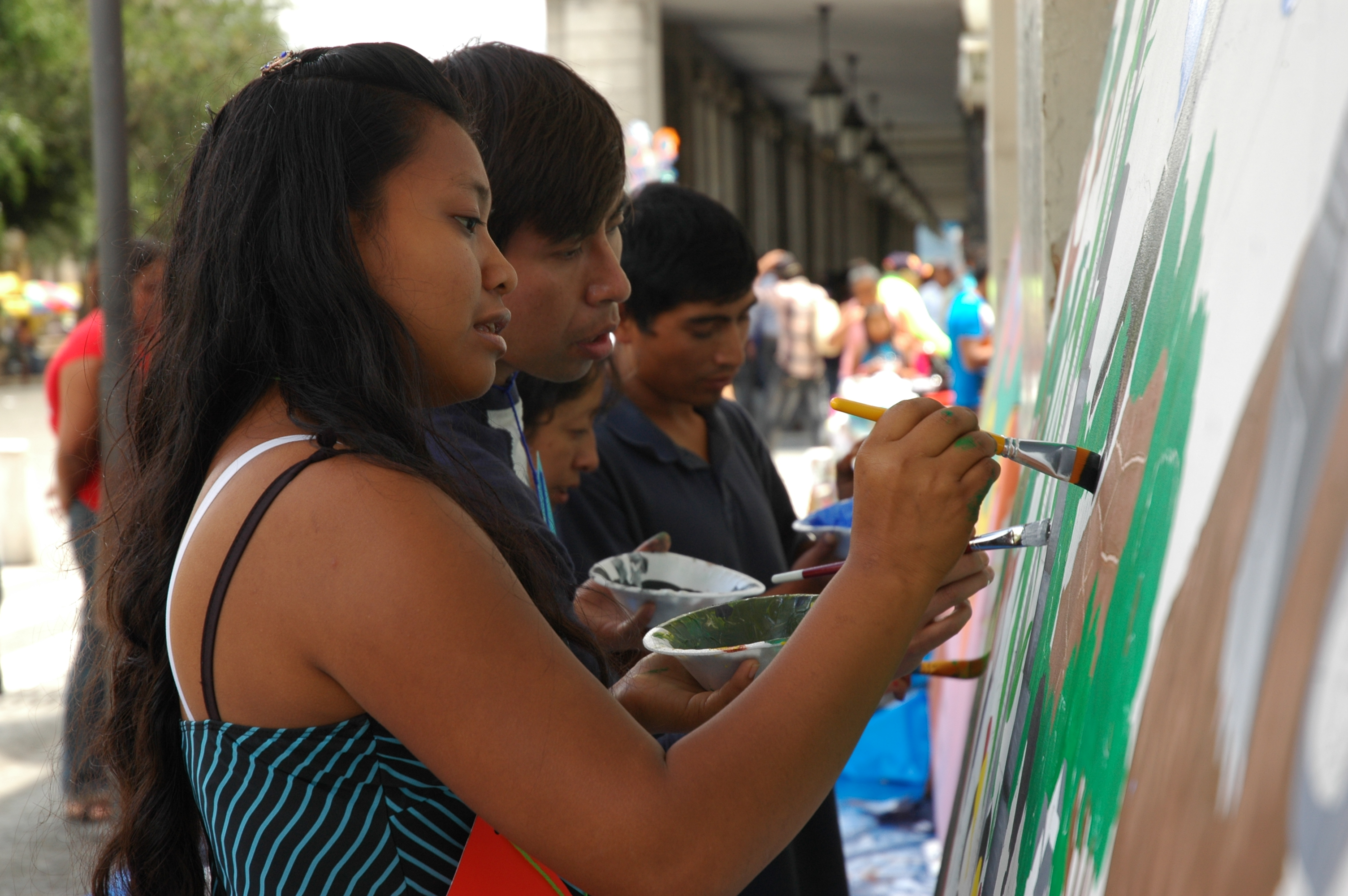 Celebration of the 2015  International Day of Peace, with the young people from an AFSC-supported Local Peace Network organizing a mural painting event along one of Guatemala Cityâs busiest streets.